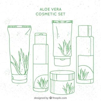 Pacote de cosméticos de aloe verdura desenhados à mão