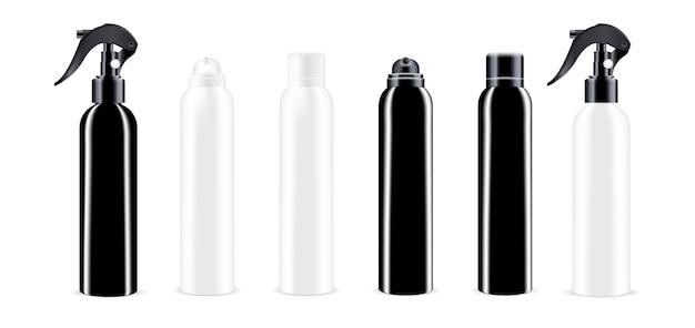 Pacote de cosméticos em spray preto e branco