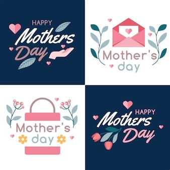 Pacote de crachá de dia das mães de design plano