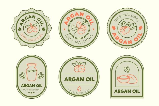 Pacote de crachá de óleo de argão de design plano orgânico