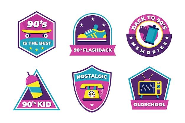 Pacote de crachá nostálgico dos anos 90 com design plano