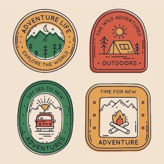 Pacote de crachás de aventura desenhado à mão