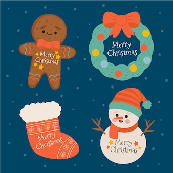 Pacote de crachás de feliz natal desenhado à mão