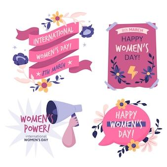Pacote de crachás do dia internacional da mulher desenhado à mão