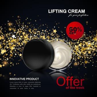 Pacote de creme cosmético com onda estrela dourada e sinal promocional