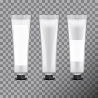 Pacote de creme para as mãos. modelo de tubo cosmético em branco com etiqueta, ilustração
