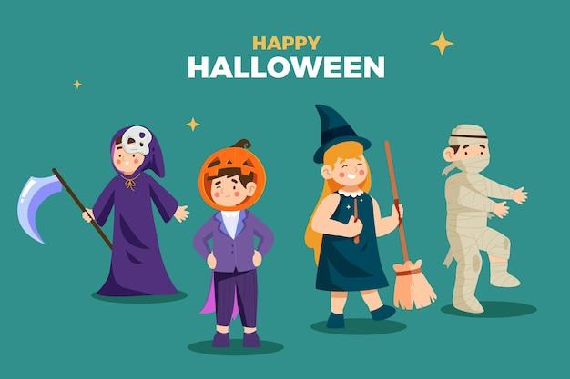 Pacote de criança de halloween de design plano
