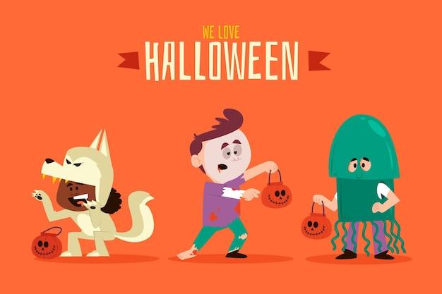 Pacote de criança de halloween