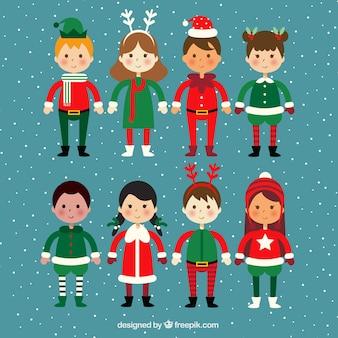 Pacote de crianças com trajes de natal
