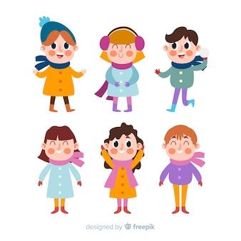 Pacote de crianças de inverno colorido