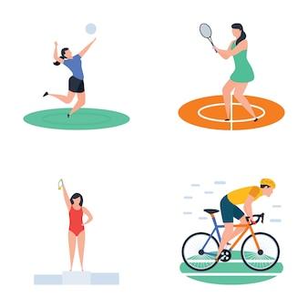 Pacote de cricket, hóquei, ícones de jogador de esportes