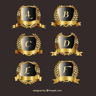 Pacote de cristas de ouro com coroa de louros