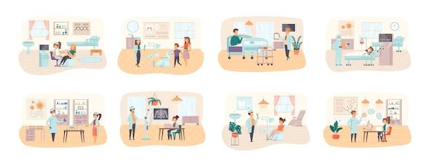 Pacote de cuidados médicos de cenas com situação de personagens de pessoas