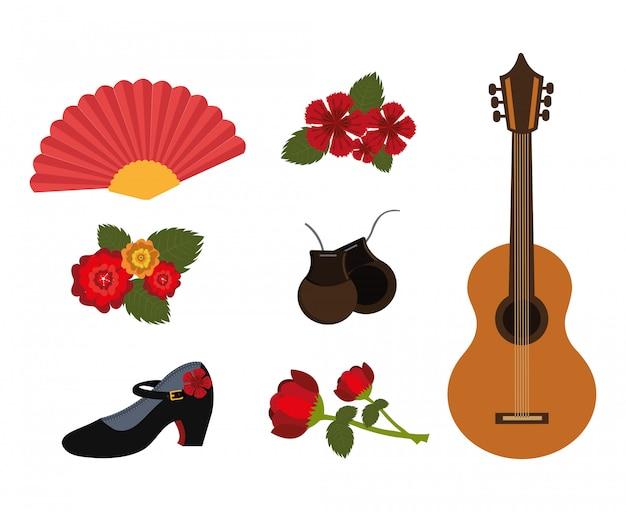 Pacote de dança flamenco e conjunto de ícones