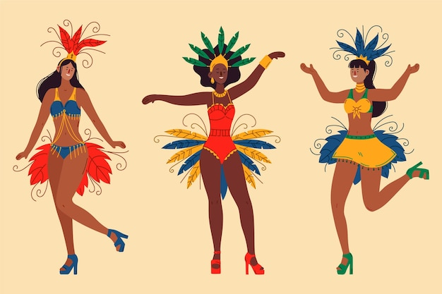 Pacote de dançarinas brasileiras de carnaval