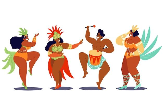 Pacote de dançarinos de carnaval brasileiro