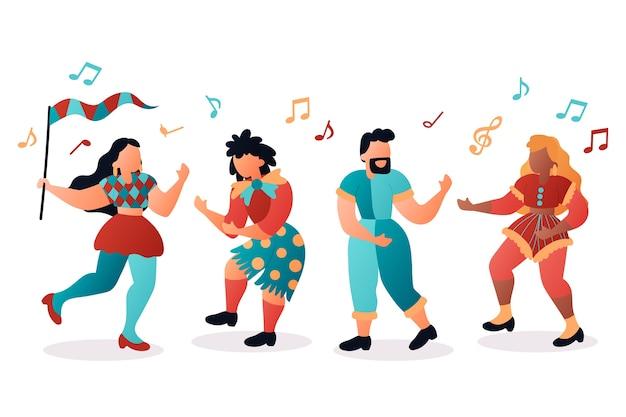 Pacote de dançarinos de carnaval
