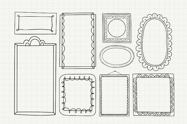 Pacote de decoração de moldura doodle