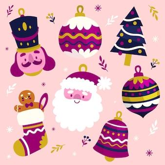 Pacote de decoração de natal de mão desenhada