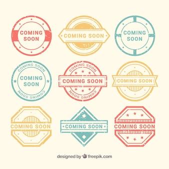 Pacote de decorativos próximos selos em cores pastel