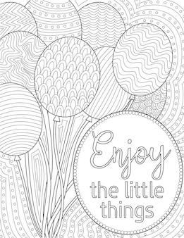 Pacote de desenho de balão voando acima de uma mensagem inspiradora. um bunche de borracha inflada flutuando na nota positiva superior. esboço de círculos sobre letra significativa.