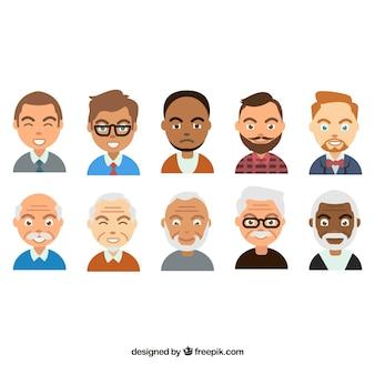 Pacote de desenhos animados de avatares masculinos
