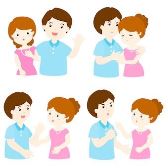 Pacote de desenhos animados de caráter casal