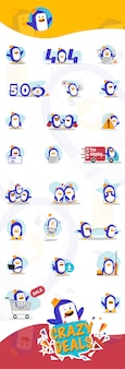 Pacote de desenhos animados de pinguim