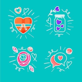Pacote de desenhos de amor desenhados à mão