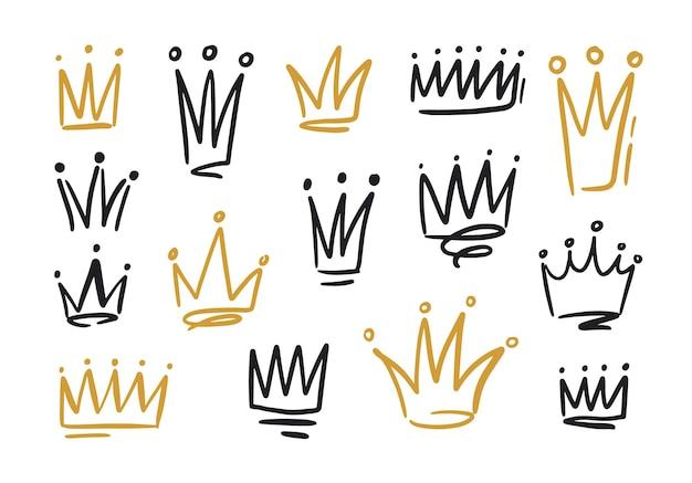 Pacote de desenhos de coroas ou diademas para rei ou rainha. símbolos da monarquia, autoridade soberana e mão do poder desenhados com linhas de contorno pretas e douradas sobre fundo branco. ilustração vetorial.