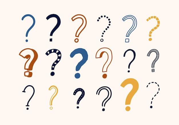 Pacote de desenhos de doodle de pontos de interrogação