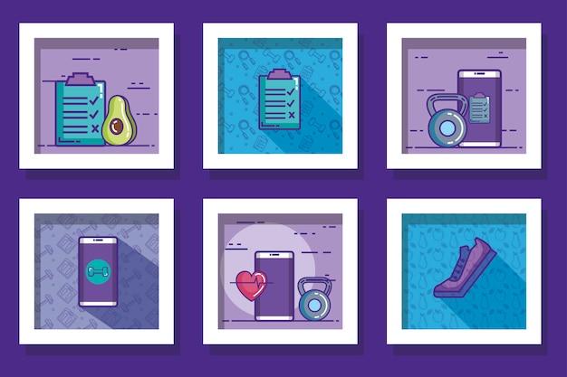 Pacote de desenhos de estilo de vida saudável