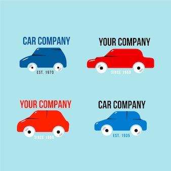Pacote de desenhos de logotipo de carro plano