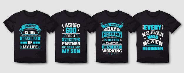 Pacote de design de camisetas de tipografia de pesca