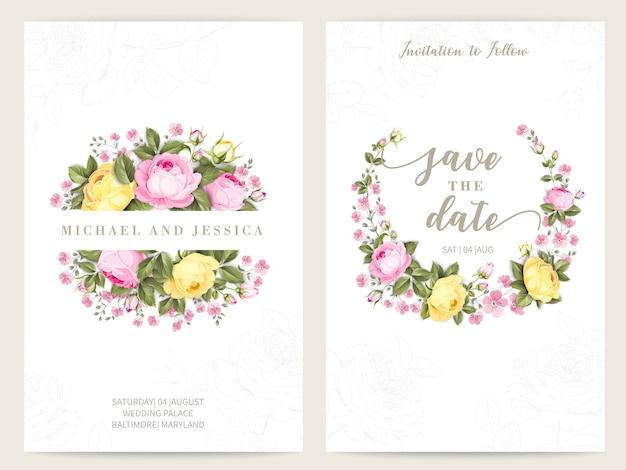 Pacote de design de convite com rosas. coleção de cartões comemorativos.