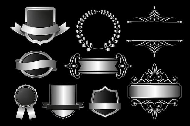 Pacote de design de elementos de luxo gradiente prata