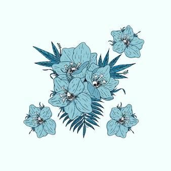 Pacote de design de ilustração de caveira e ossos de flor