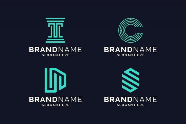 Pacote de design de logotipo abstrato inspirador
