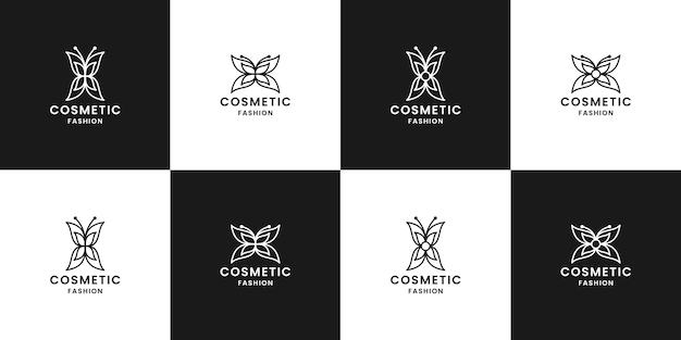 Pacote de design de logotipo cosmético de borboleta para cosméticos de etiqueta