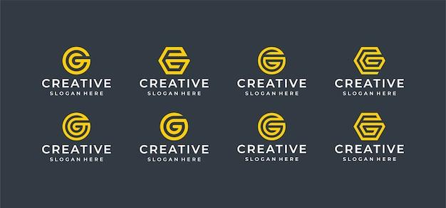 Pacote de design de logotipo da letra c em estilo de arte de linha
