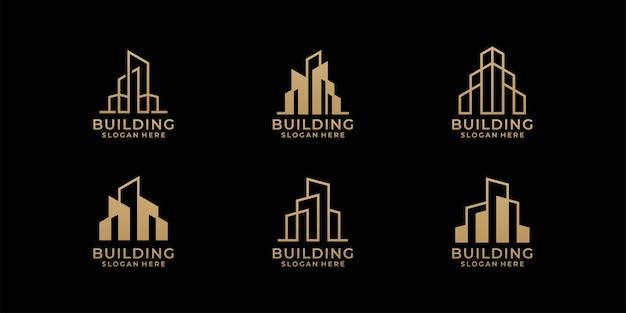 Pacote de design de logotipo de arquitetura em estilo de arte de linha Vetor Premium