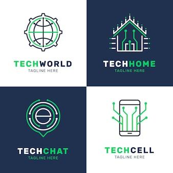 Pacote de design de logotipo de eletrônicos planos