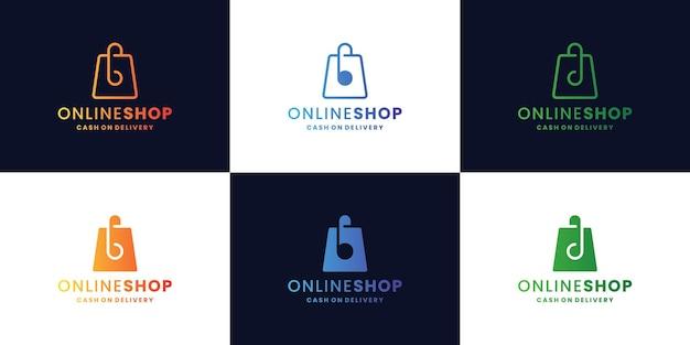 Pacote de design de logotipo de loja online moderna. bolsa com carta