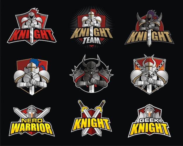 Pacote de design de logotipo e-sport com tema knight