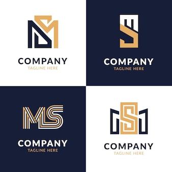 Pacote de design de logotipo flat ms