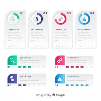 Pacote de design plano colorido infográfico