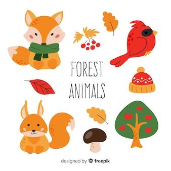 Pacote de design plano de animais da floresta
