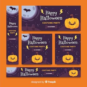Pacote de design plano de banners de halloween