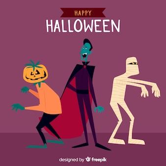 Pacote de design plano de criaturas de halloween