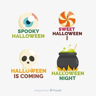 Pacote de design plano de emblemas de halloween
